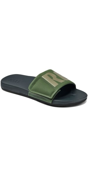 2018 Reef Mens Cushion Bounce Slide Tongs Olive / Gris RF0A3OL5OGL