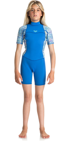 2018 Roxy Junior Girls Série Syncro 2mm Flatlock Shorty Wetsuit SEA BLUE II ERGW503004