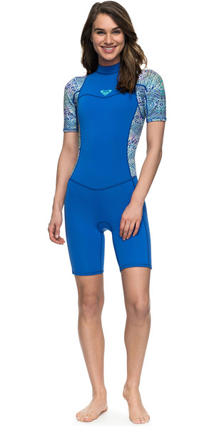 2018 Roxy Womens Syncro Series 2mm Back Zip Shorty Wetsuit SEA BLUE II ERJW503007