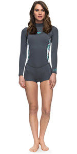 2018 Roxy Womens Syncro Series 2mm Long Sleeve Back Zip Spring Shorty Wetsuit ASH / PISTACCIO ERJW403014