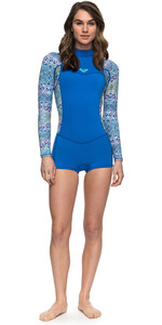 2018 Roxy Womens Syncro Series 2mm Long Sleeve Back Zip Spring Shorty Wetsuit SEA BLUE ERJW403014
