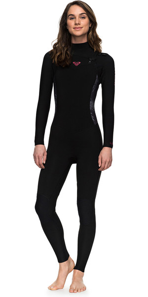 2018 Roxy Syncro Series 4/3mm GBS Chest Zip Wetsuit BLACK ERJW103022