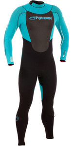 2019 Typhoon Vortex Gbs 3/2mm Wetsuit Met Back Zip Zwart / Pro Blauw 250750