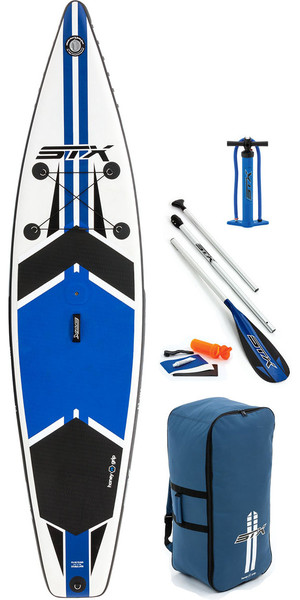 "2018 STX 11'6 x 32 ""Touring Windurf Edition Opblåsbare Stand Up Paddle Board, Padle, Taske, Pumpe & Leash Blue 7063"