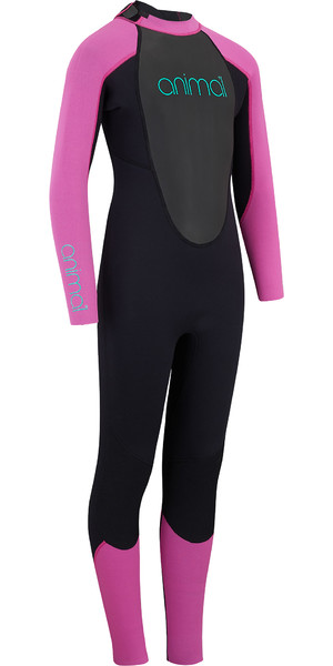 2019 Animal Junior Girls Nova 3/2mm Flatlock Back Zip Wetsuit Black AW9SQ802