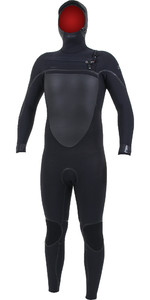 2019 O'Nill Psycho Tech 6 / 4mm Wetsuit Met Chest Zip Capuchon Zwart 5366