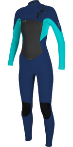 2020 De Las Mujeres O'Neill Epic 4/3mm Chest Zip Gbs Wetsuit 5356 - Navy / Aqua