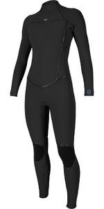 2019 O'Nill Dames Psycho One 4/3mm Wetsuit Met Back Zip Zwart 5097
