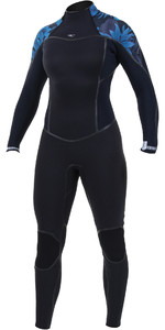 2019 O'Nill Dames Psycho One 4/3mm Wetsuit Met Back Zip Zwart / Blauw Faro 5097