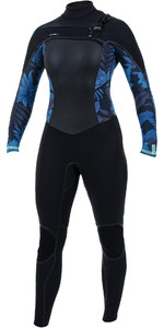 2019 O'Nill Dames Psycho Tech 5/4 5/4+mm Wetsuit Op De Chest Zip Zwart / Blauw Faro 5367