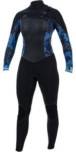 2019 O'neill Frauen Psycho Tech 5/4 5/4+mm Brust Chest Zip Neoprenanzug Schwarz / Blau Faro 5367