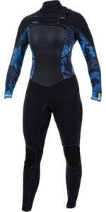 2019 O'Neill Womens Psycho Tech+ 4/3mm Chest Zip Wetsuit Black / Blue Faro 5339
