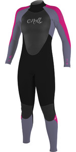 2019 O'neill Jeune Fille Epic 5/4mm Back Zip Gbs Combinaison Noir / Mist / Berry 4219g