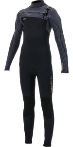 2019 O'neill Juventude Hyperfreak + 4/3mm Chest Zip Gbs Wetsuit Preto / Graphite 5351