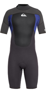 2019 Quiksilver 2mm Prologue Back Zip Shorty Wetsuit Negro / Azul Noche Eqyw503010