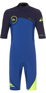 2019 Quiksilver Boys Syncro Series 2mm Back Zip Shorty Wetsuit HV Nite Blue EQBW503004