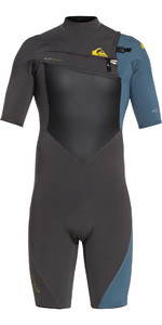 2019 Highline Quiksilver Mais 2mm Chest Zip Shorty Wetsuit Preto / Aço Azul Eqyw503008