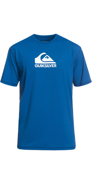 2019 Quiksilver Solid Strike Short Sleeve T-Shirt fit Rash Vest Electric Blue EQYWR03159