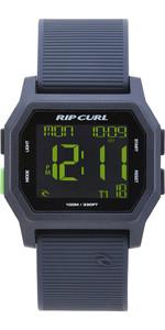 2019 Rip Curl Atom Digitaluhr mit Silikonband Schwarz / Grün A2701