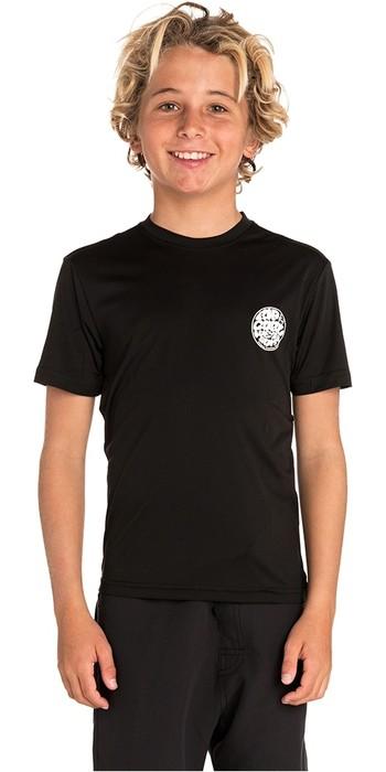 2019 Rip Curl Junior Boys Suchen Surflite UV T-Shirt / Hautausschlag Weste Schwarz Wly7fb