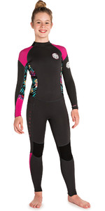 2019 Rip Curl Junior Girls Dawn Patrol 3/2 mm Flatlock Volver Zip Traje púrpura WSM8DS