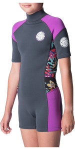 2019 Rip Curl Junior Girl Dawn Patrol Spring Shorty Wetsuit Purple WSP8BJ