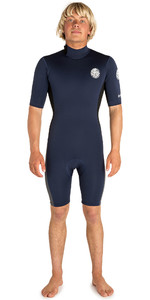 2019 Rip Curl Hombres Aggrolite 2mm Back Zip Spring Shorty Wetsuit Navy / Negro Wsp6am