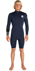 2019 Rip Curl Mens Aggrolite 2mm long Sleeve Back Zip Shorty Wetsuit Navy WSP8BM