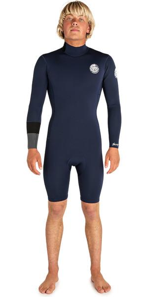 2019 Rip Curl Mens Aggrolite 2mm long Sleeve Back Zip Shorty Wetsuit Navy WSP8BM