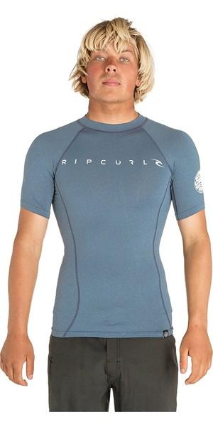 2019 Rip Curl Mens Dawn Patrol Short Sleeve Rash Vest Blue WLUGDM