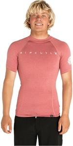 2019 Rip Curl Mens Dawn Patrol Short Sleeve Rash Vest Red WLUGDM