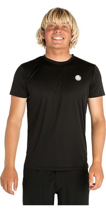 2020 Rip Curl Mens Search Surflite Short Sleeve Rash Vest Black WLY7TM