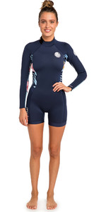 2019 Rip Curl Womens Dawn Patrol 2mm manica lunga Shorty Wetsuit Navy WSP8GW