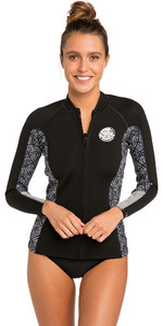 2019 Rip Curl Womens Dawn Patrol 1.5mm Long Sleeve Neoprene Jacket Black / White WVE8BW