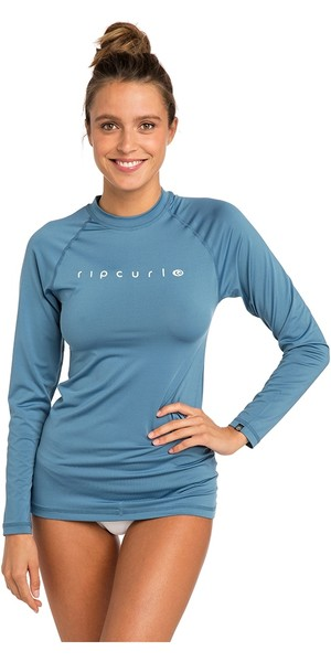 2019 Rip Curl Womens Sunny Rays Relaxed Long Sleeve Rash Vest Denim Blue WLY6FW