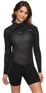 2019 Roxy Womens 2mm Performance Long Sleeve Chest Zip Spring Shorty Black ERJW403009