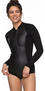 2020 Roxy Dames 2mm Satijn Cheeky Spring Shorty Wetsuit Met Lange Mouwen Zwart ERJW403018