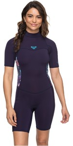 2019 Roxy 2mm Syncro Back Zip Spring Shorty Wetsuit Blauw Lint ERJW503007