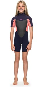 2020 Roxy Meisje 2mm Prologue Back Zip Shorty Blauw Lint / Coral Ergw503008