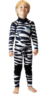 2020 Saltskin Junior 3/2mm Back Zip Neoprenanzug - Zebra