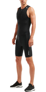 2020 2xu Herre Active Halv Zip Trisuit Mt5540d - Sort