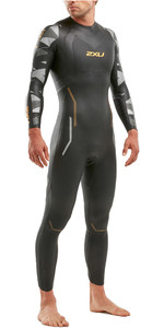 2021 2XU Mens P:2 Propel Triathlon Wetsuit MW4990C - Black / Orange Fizz