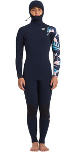 2020 Billabong Feminino Furnace Comp 5/4 5/4mm Chest Zip Com Capuz Wetsuit U45g33 - íris