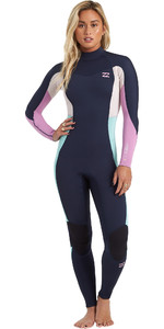 2021 Billabong Feminino Synergy 3/2mm Back Zip Gbs Wetsuit U43g36 - Navy