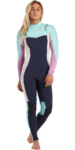 2021 Billabong Frauen Synergy 4/3mm Chest Zip Gbs Wetsuit U44g34 - Navy
