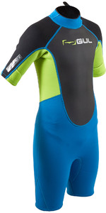 2020 GUL Junior Response 3mm Back Zip Shorty Wetsuit RE3322-B7 - Blue / Lime