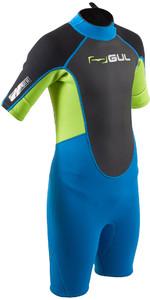 2020 Gul Junior Response 3/2mm Back Zip Shorty Våddragt Re3322-b7 - Blå / Lime