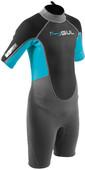 2020 Gul Junior Response 3/2mm Back Zip Shorty Neoprenanzug Re3322-b7 - Grau / Blau