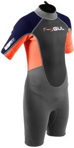 2020 Gul Junior Response 3/2mm Back Zip Shorty Neoprenanzug Re3322-b7 - Grau / Orange