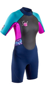 Wetsuit Gul Junior Response 3mm Back Zip Shorty Re3321-b7 - Navy / Rouge
